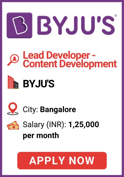 byjus job lead developer bangalore